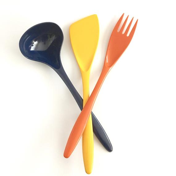 Vintage Melamine Cooking Utensils Retro Colorful Kitchen ...