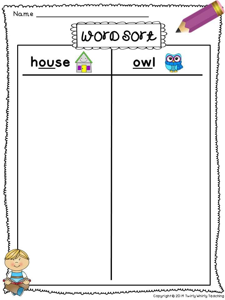 Free Ou Ow Diphthong Word Sort Super Second Grade Pinterest