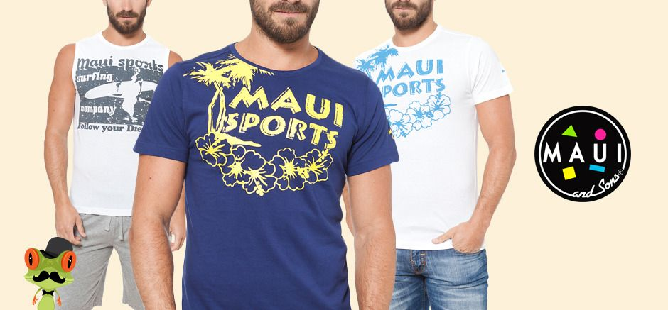 kit 3 maui and sons t-shirt uomo bianca   blu   bianca