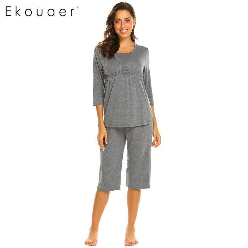 b631d8aedf118 Women pajama set soft cotton sleepwear maternity nursing pregnancy 3/4  sleeve top half length