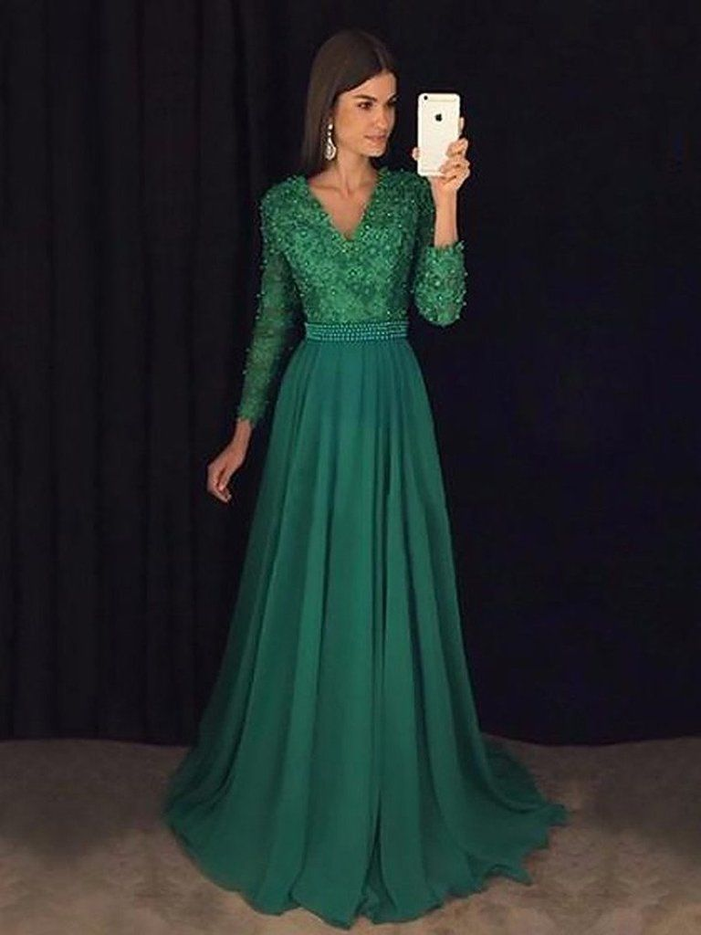 Custom made v neck emerald green prom dress with long sleeves