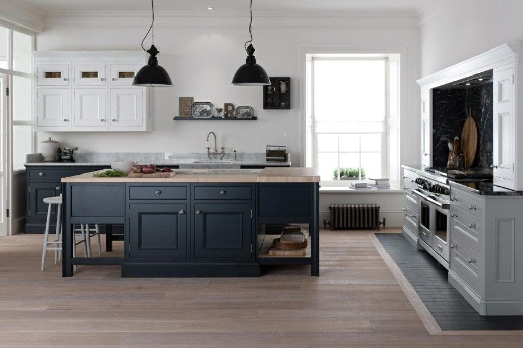 White Dark Grey Kitchen Design With The Island Wooden Countertop Under Black Hanging Lamp And
