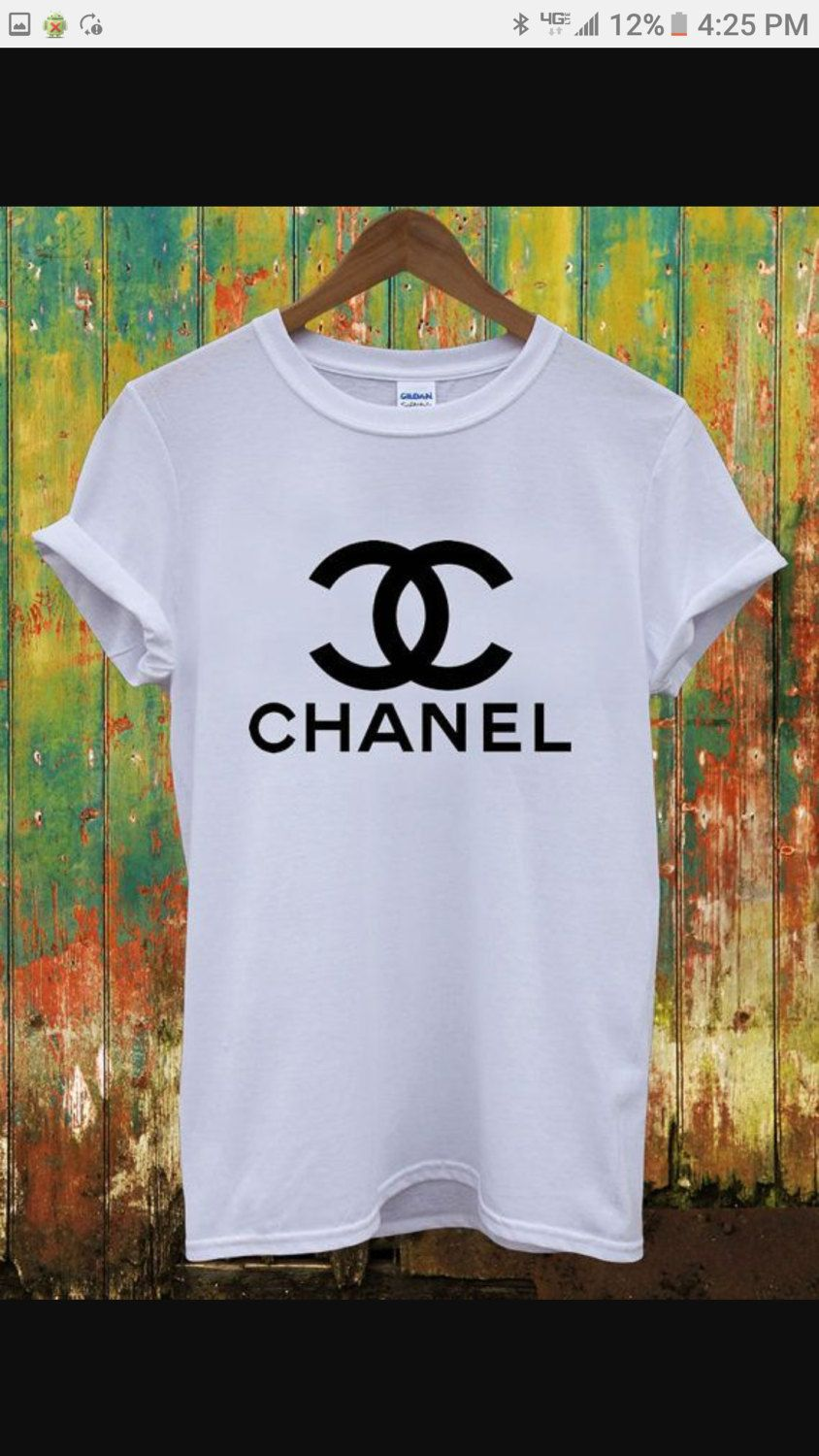 21a723975 Chanel inspired t shirt, white t shirt with black logo, women's graphic tees,  Chanel, sizes small to 4x! Too selling t shirts by DropsofJupiter07 on Etsy