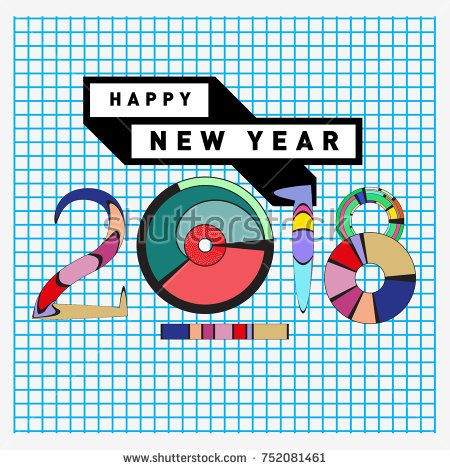 Happy New Year 2018 Greeting Card and Calendar Cover Template - new year greeting card template