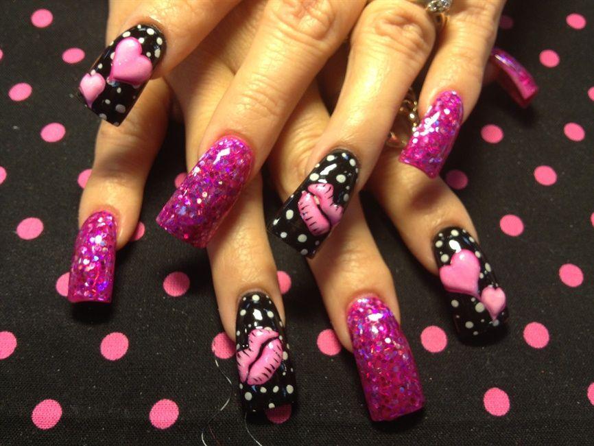 3-d pink hearts and lips - Nail Art Gallery | Nails | Pinterest ...