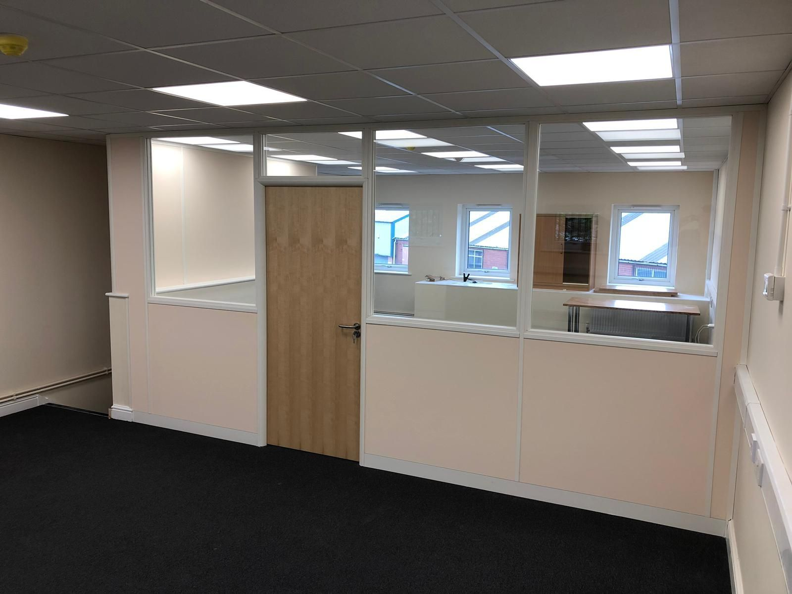 75mm Office Partitioning With Half Height Double Glazing Modules
