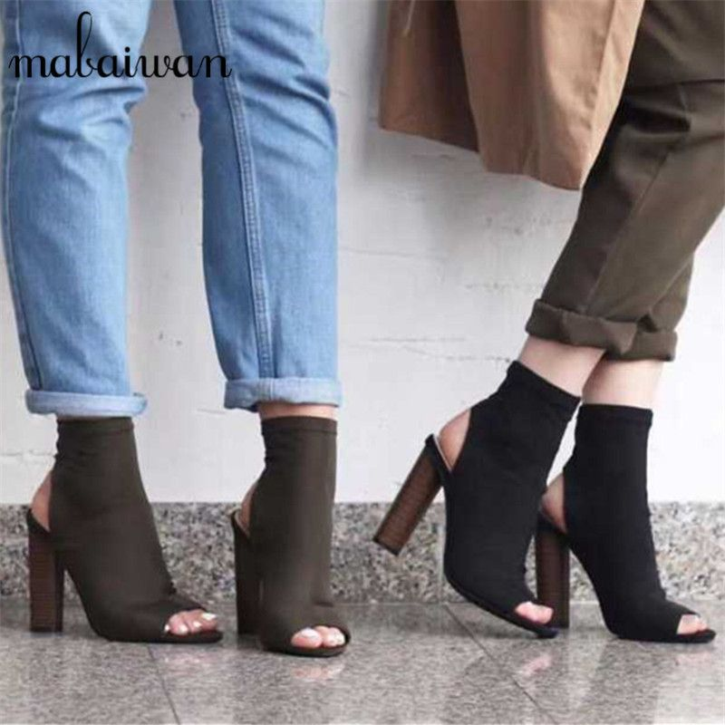 93b1efc4faf0 Fashion Women Stretch Summer Ankle Boots Peep Toe Slingback Slip On High  Heels Elastic Sock Knit Botas Botines Mujer