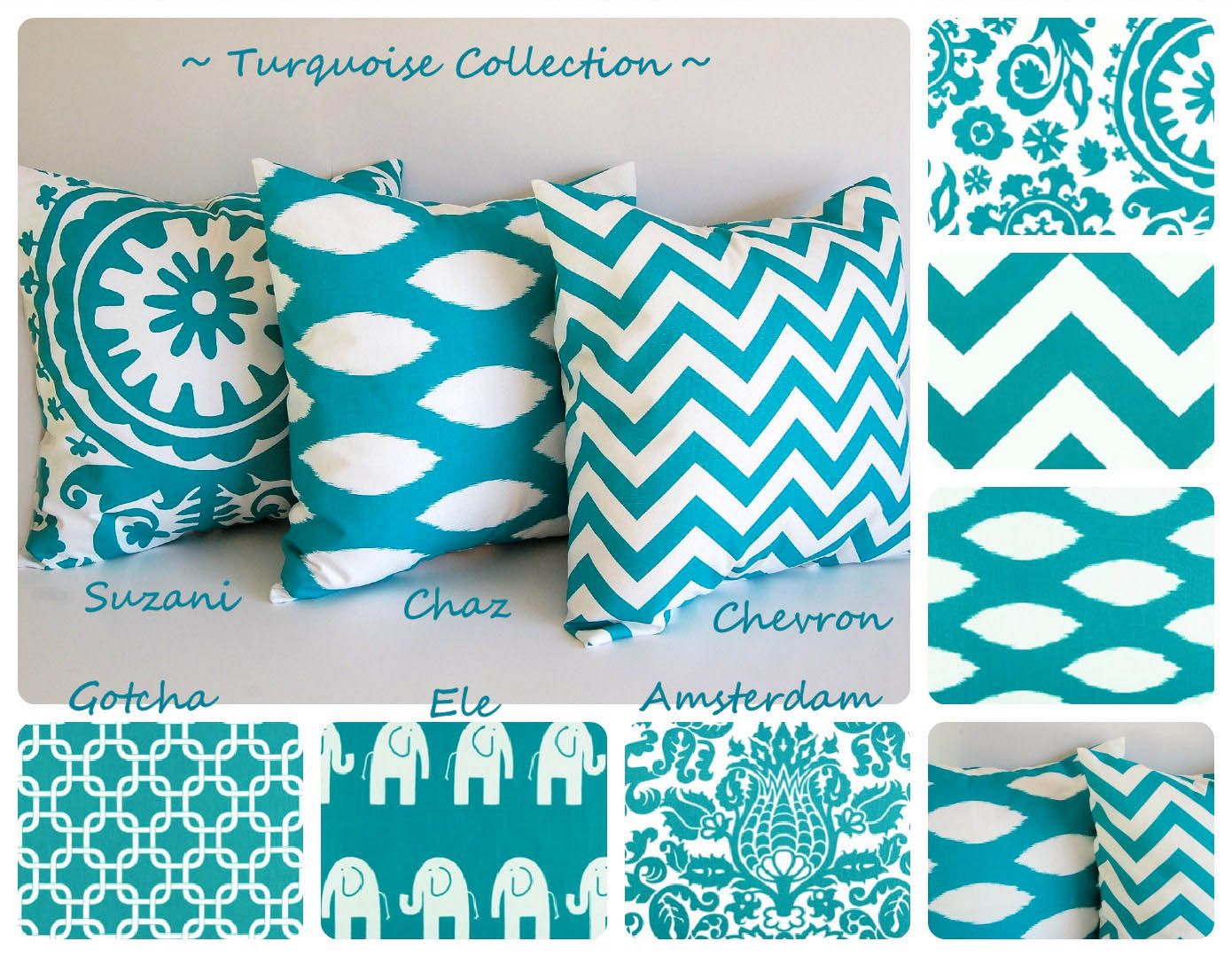 "Turquoise throw pillow cover 16"" x 16"" you choose fabric turquoise cushion cover chevron pillows. $16.00, via Etsy."