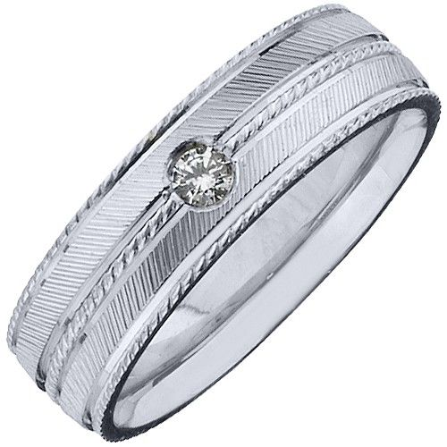 .08 Carat Mens Solitaire Round Diamond Ring 6mm Wedding Band
