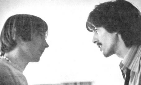 GEORGE HARRISON and PETER TORK talk face to face, 1967. The two bonded when The Beatles met The Monkees in 1967. Tork played guitar on Harrison's 'Wonderwall' Lp in the early 1970s.