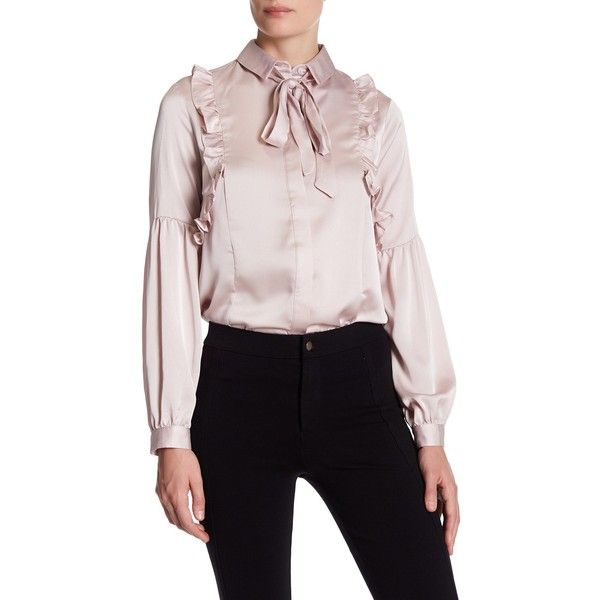 3aaee8700822ef TOPSHOP Satin Ruffle Neck Tie Shirt (€28) ❤ liked on Polyvore featuring tops