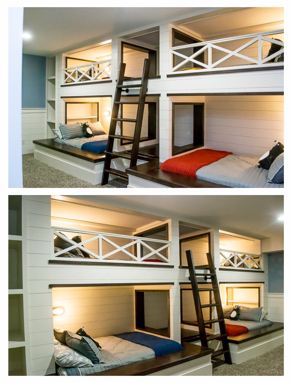 Custom Built Quadruple Bunk Bed With Shiplap Walls Contrasting Dark Stained Accents Bookcases Railing Custom Bunk Beds Lakehouse Bedroom Bunk Beds Built In
