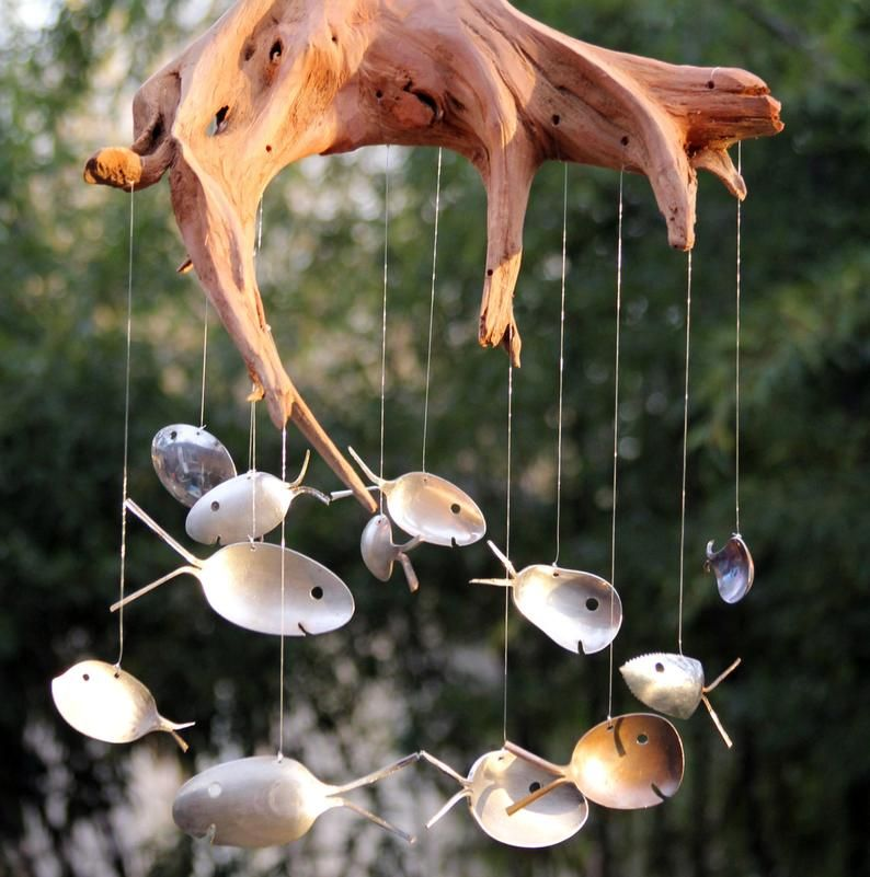 Large Driftwood Spoon Fish Wind Chime Vintage Flatware Mobile Lawn Decoration Waterfront Cottage Decor Giant Windchimes Fisherman Gift Wind Chimes Driftwood Art Unique Garden Art