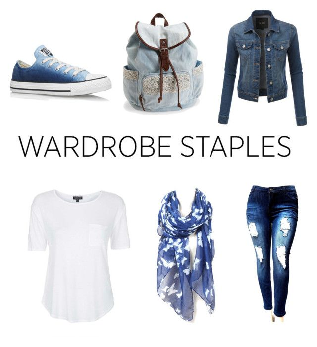 """""""Wardrobe staples"""" by tjoyreeves1 ❤ liked on Polyvore featuring Topshop, Converse, Aéropostale and LE3NO"""