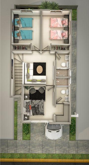 Planta alta casa distribucion de casas peque as for Diseno de interiores para casas pequenas