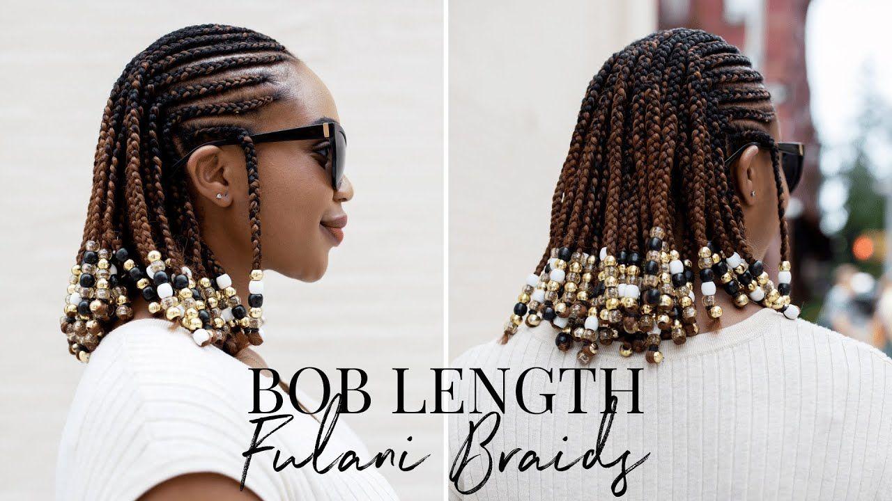 Bob length fulani braids braids and beads hairstyle on