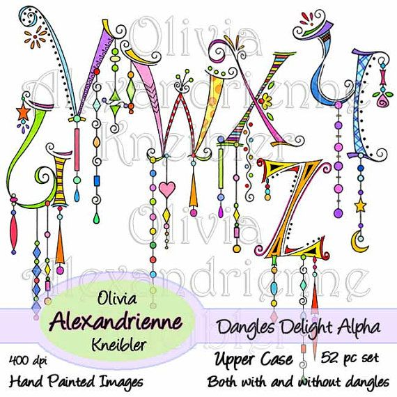 Dangles Delight Alphabet Upper Case With and without by atelieroz