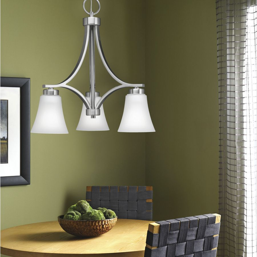 Shop Portfolio Lyndsay 3 Light Brushed Nickel Chandelier At Lowes