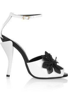 Fendi Flower-appliquéd patent-leather sandals | NET-A-PORTER -