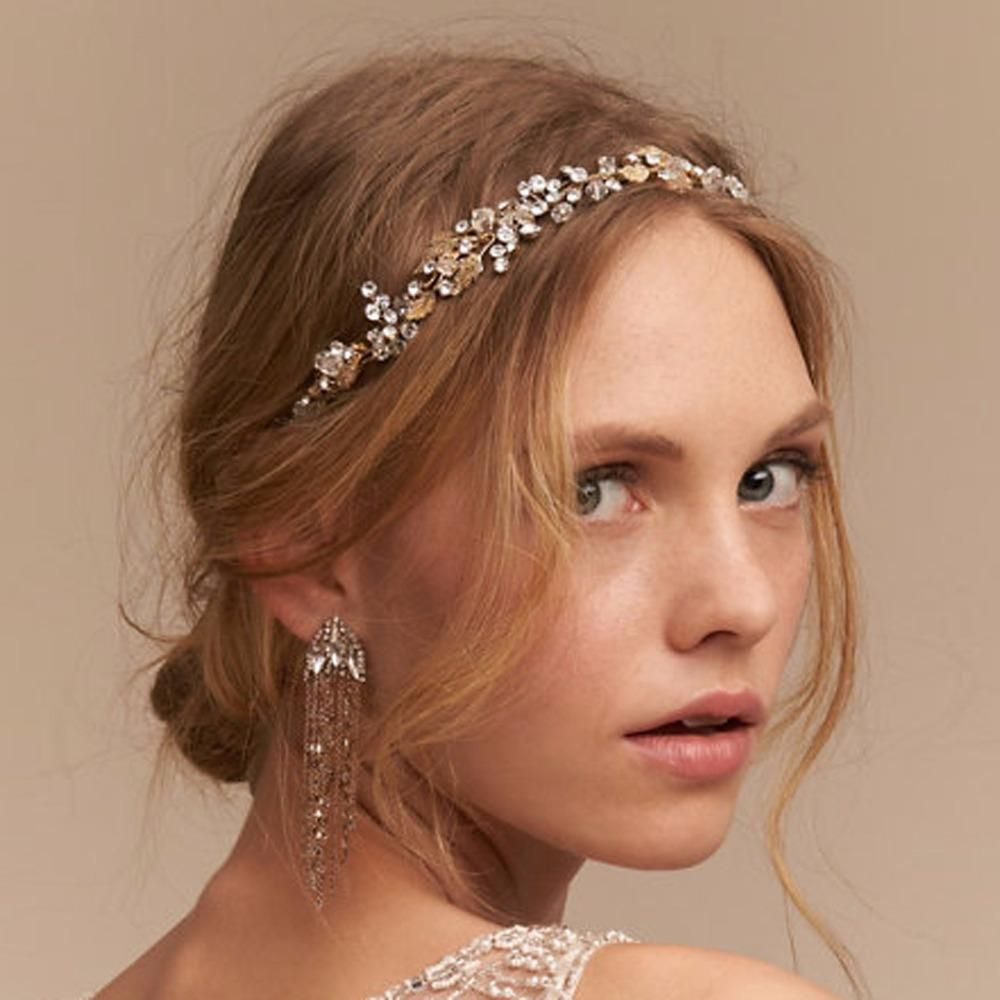 Cressida Wedding Hair Band Gold Leaves
