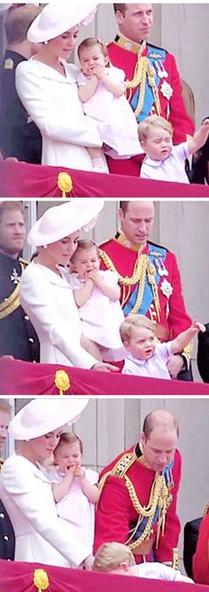Prince George falling of his stool during Trooping the Colour