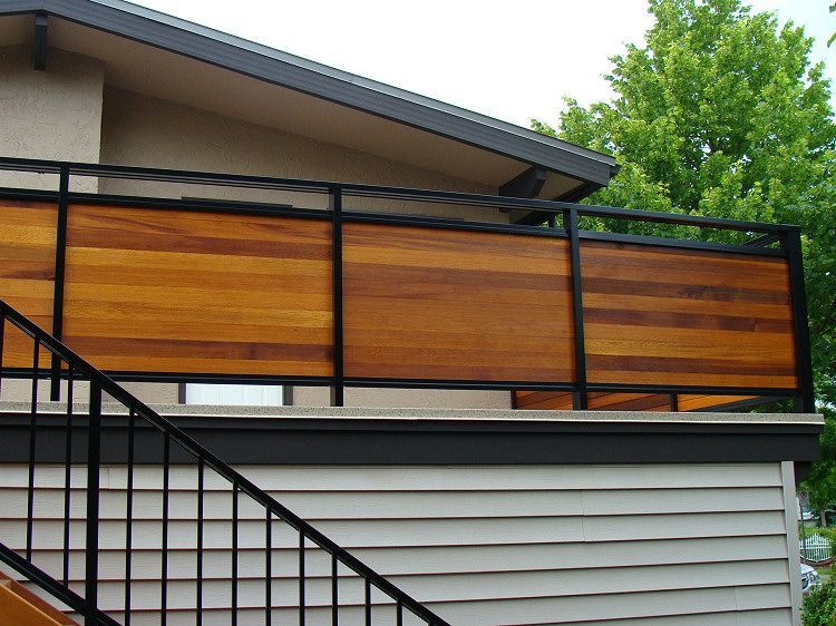 metal framed horizontal wood privacy rail - Wall Railings Designs