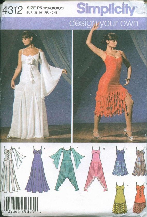 c7d8db645 Salsa Dress Dancer SEWING PATTERN Simplicity 4312 Size 12-14-16-18-20 OOP
