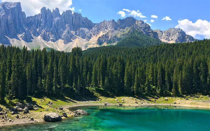 Scarica sfondi lago di carezza italia 4k alpi montagna for Piani di fattoria con foto