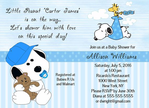 Baby Snoopy Stork Woodstock Blue, Green, Pink Or Twins Baby Shower  Invitations