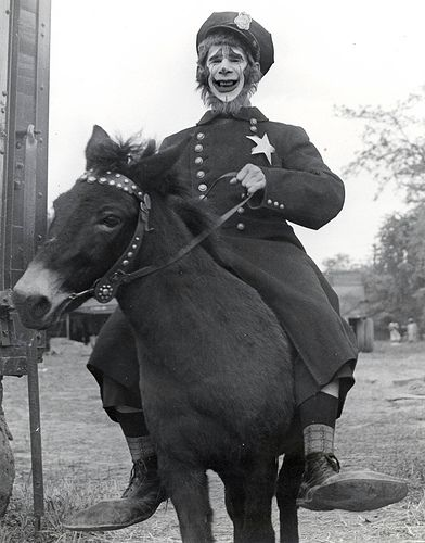 "vintage photograph policeman clown on a donkey or horse  ""Cole Bros. Circus- Joe Lewis"""