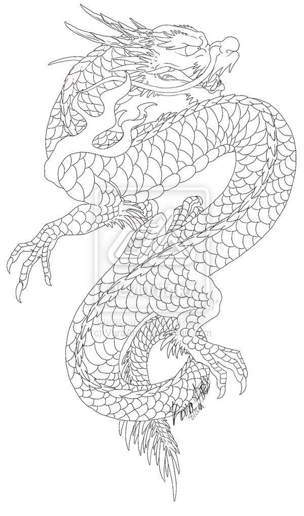 Dragon Outline Drawing : dragon, outline, drawing, Positioning, Asian, Dragon, Tattoo,, Japanese, Tattoo