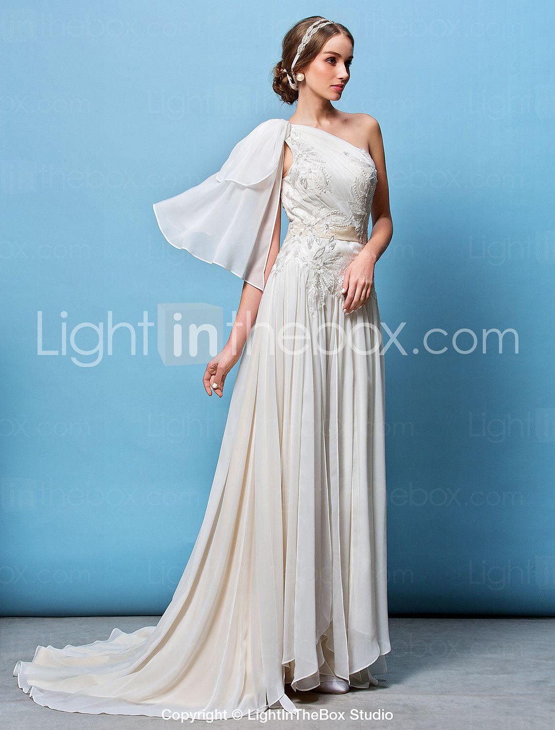 A-line/Princess One Shoulder Court Train Wedding Dress (Chiffon ...