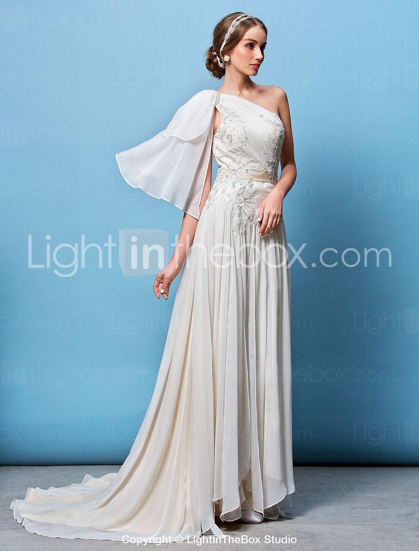 A-line/Princess One Shoulder Court Train Wedding Dress (Chiffon ...