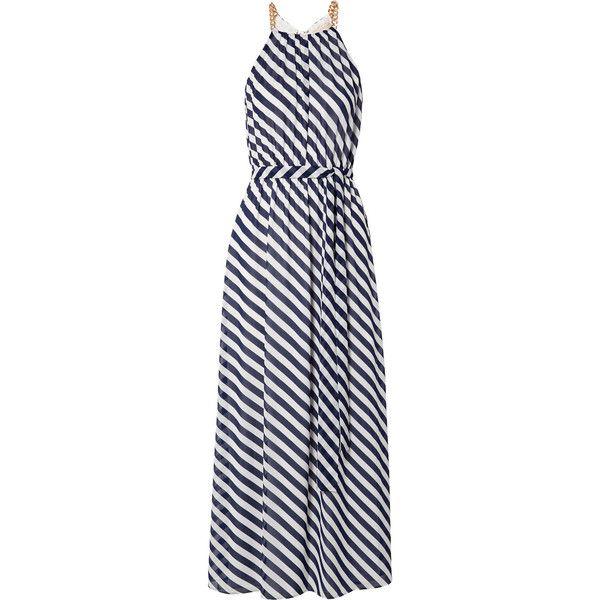Chain-embellished Striped Chiffon Maxi Dress - Midnight blue Michael Kors wgOgYJXDR