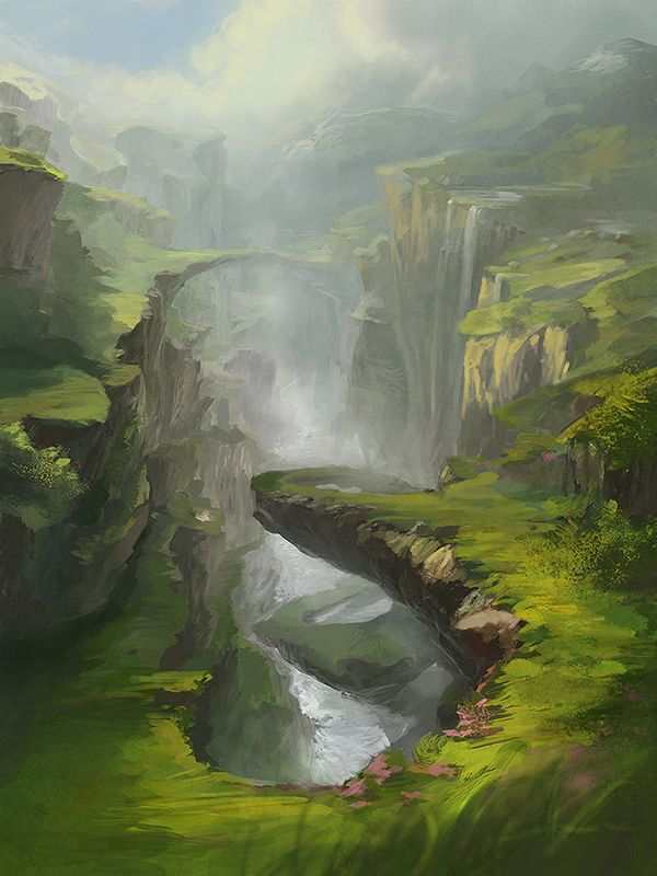 Paintings of Rock Bridges. Done for gallery exhibition. on Behance