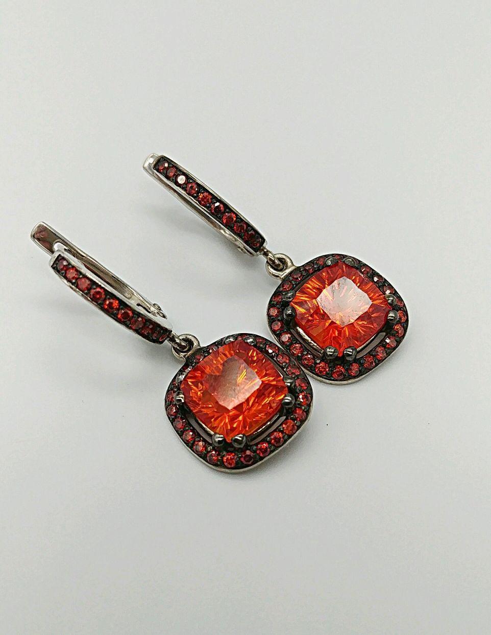 79592ff27276 Серьги Пламя серебро 925 оранжевые фианиты - купить или заказать в ...