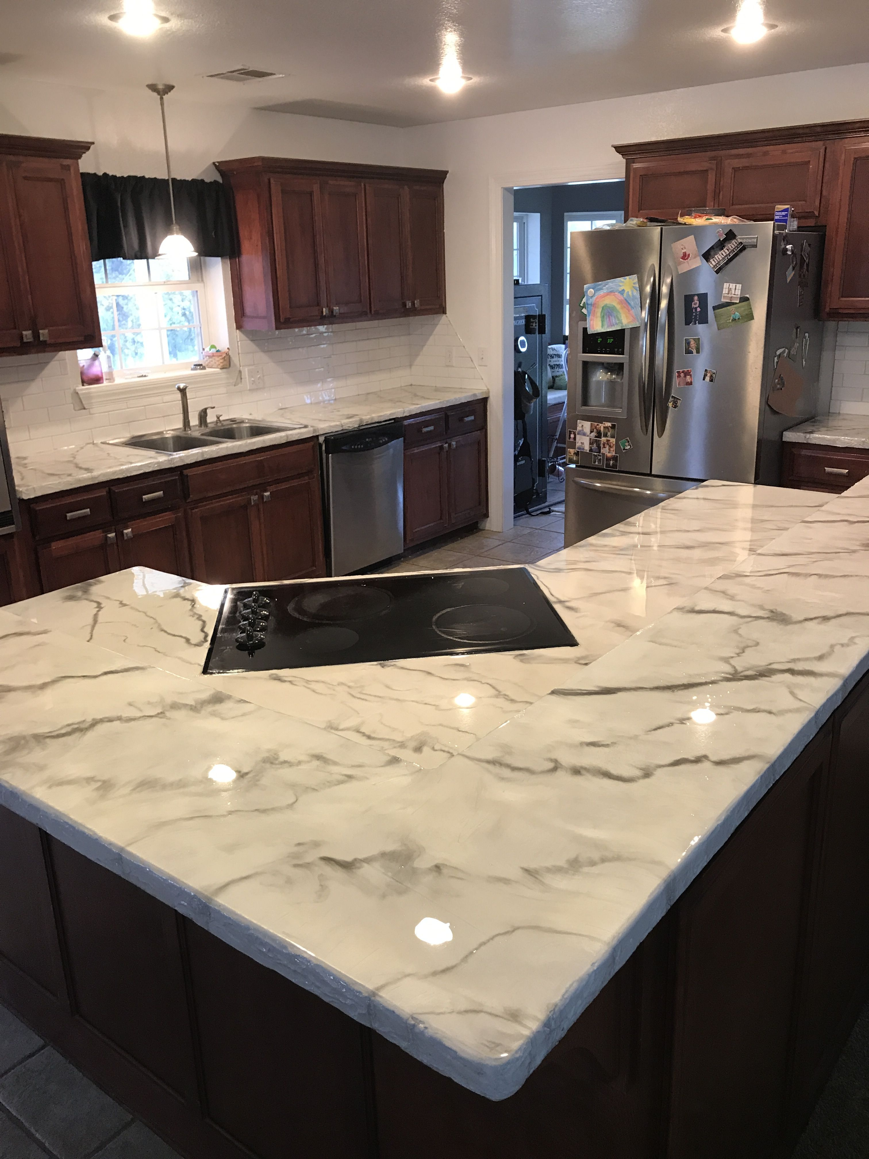 Faux marble finish kitchen countertops diy kitchen