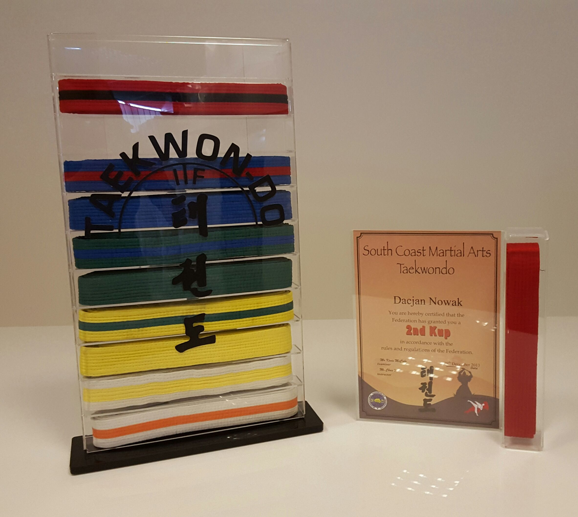 Karate belt display ideas - Martial Arts Taekwondo Belt And Certificate Display Stand Or Wall Mounting Option
