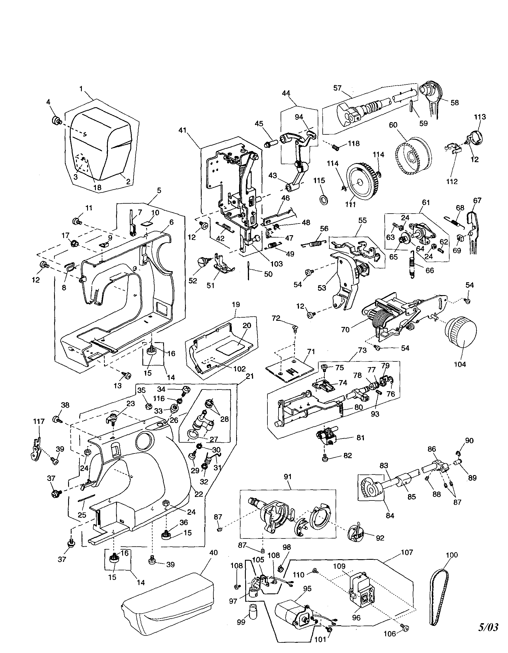 singer 401a parts diagram
