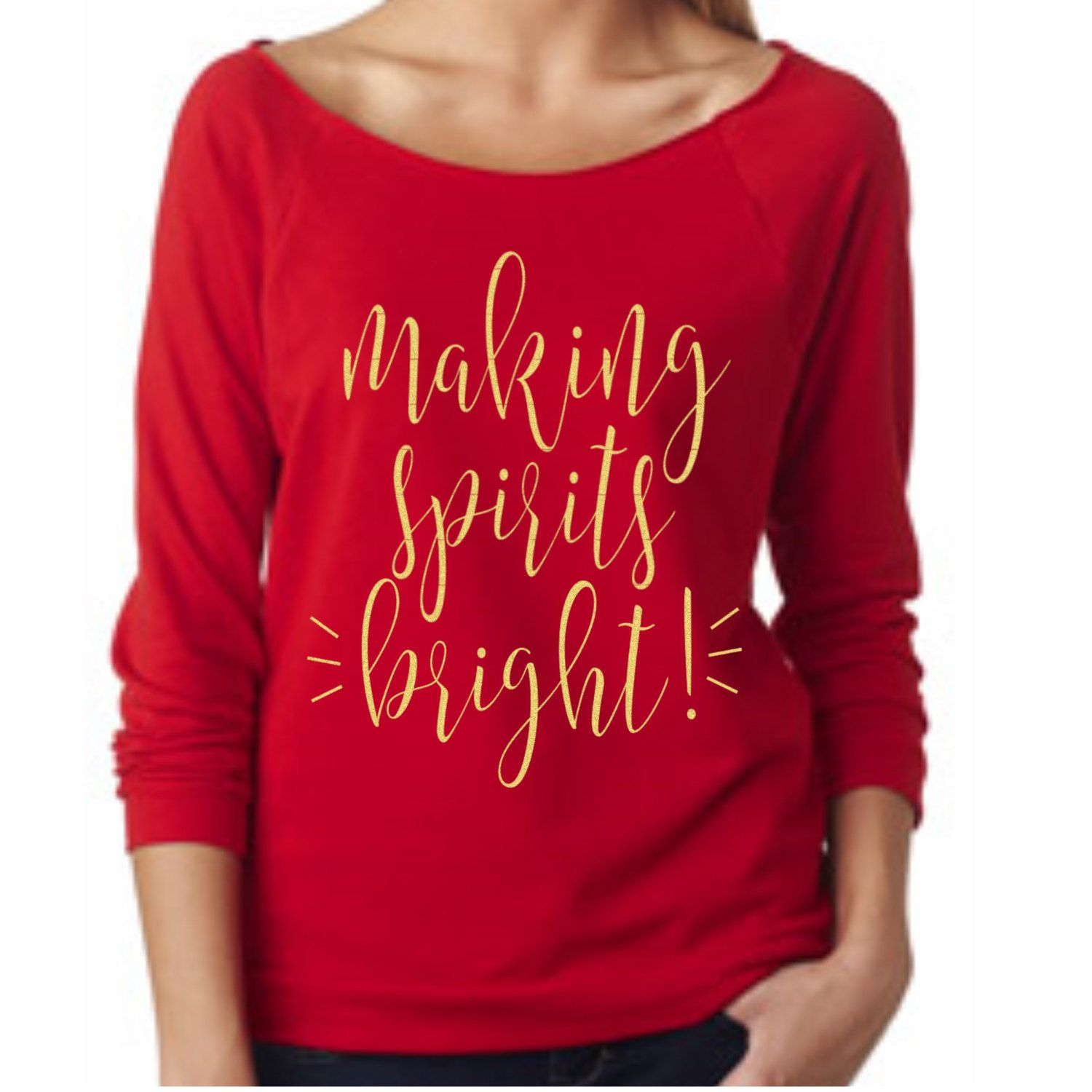 Making Spirits Bright 3/4 sleeve terry raw edge top, S-2XL, Holiday Top, Christmas Party Top, Merry Christmas, Holiday Sweatshirt by ShopatBash on Etsy