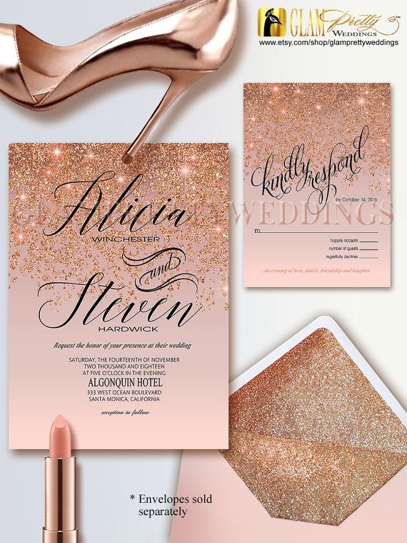 Rose gold glitter wedding invitation rsvp by glamprettyweddings wedding invitation - Rose gold wandfarbe ...