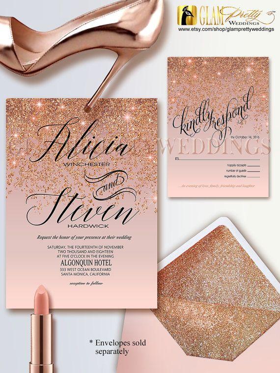 4 piece Rose Gold Glitter Wedding Invitation RSVP card Save the