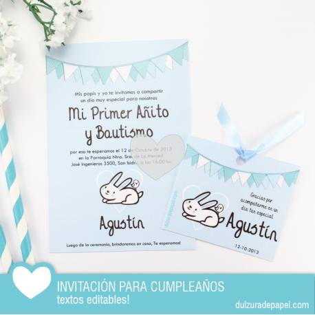 Conejito Celeste Invitacion Para Imprimir Invitaciones