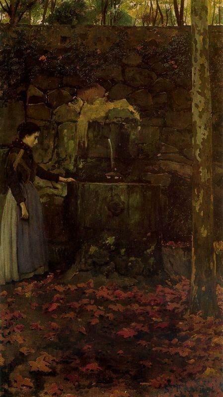 Mujer En La Fuente 1889 óleo Sobre Tela 97 X 53 Cm Obra