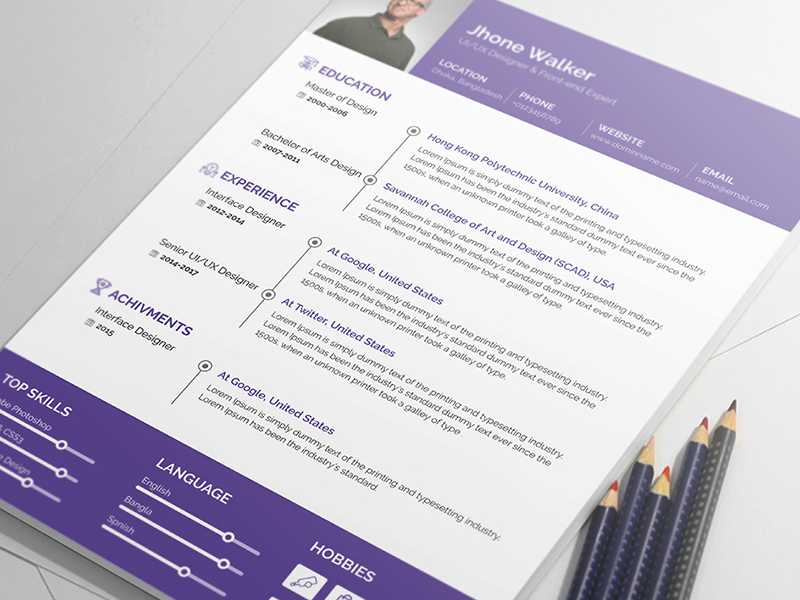 Free Resume Templates And Printing Resume Template  Material Design Products  Pinterest  Cv