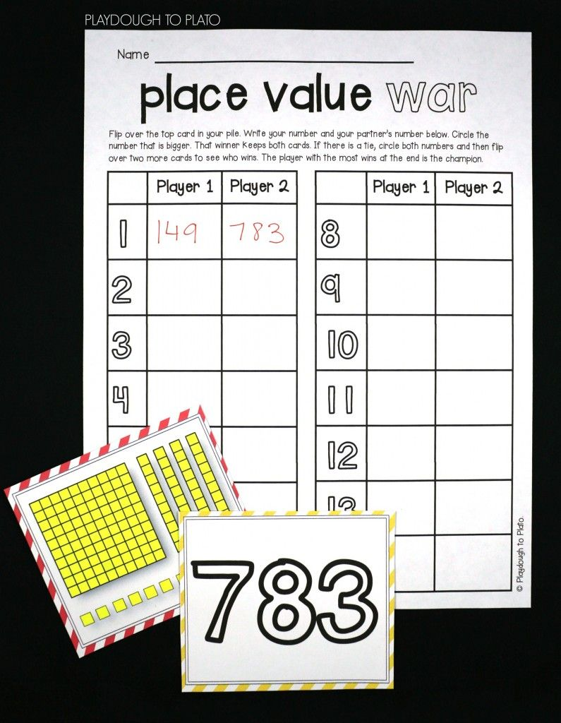 Place Value War Playdough To Plato Place Values Math Place Value 2nd Grade Math