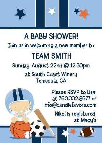 sports baby caucasian - baby shower invitations | sports baby, Baby shower invitations