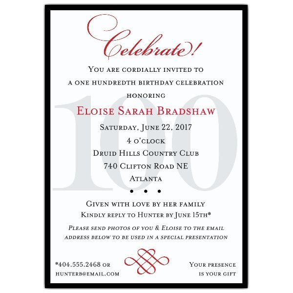 Classic 100th Birthday Celebrate Party Invitations