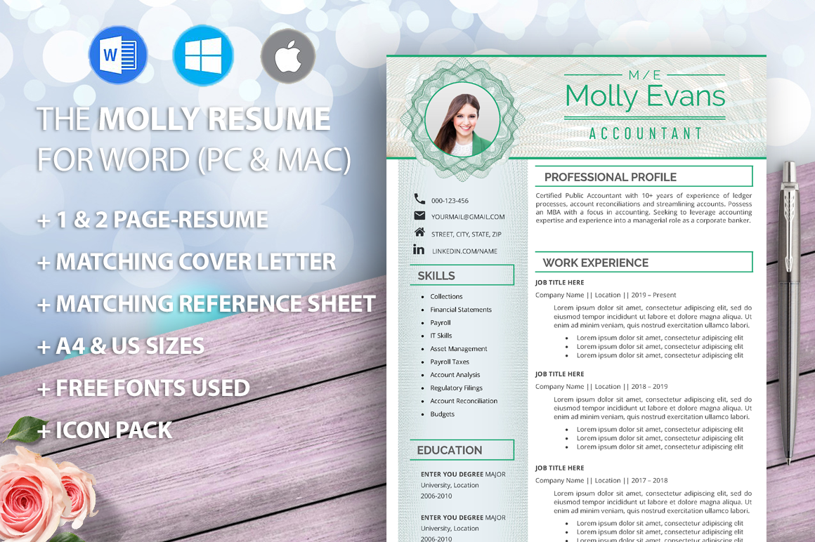 Accountant Resume Template for Word, Executive, Manager ...