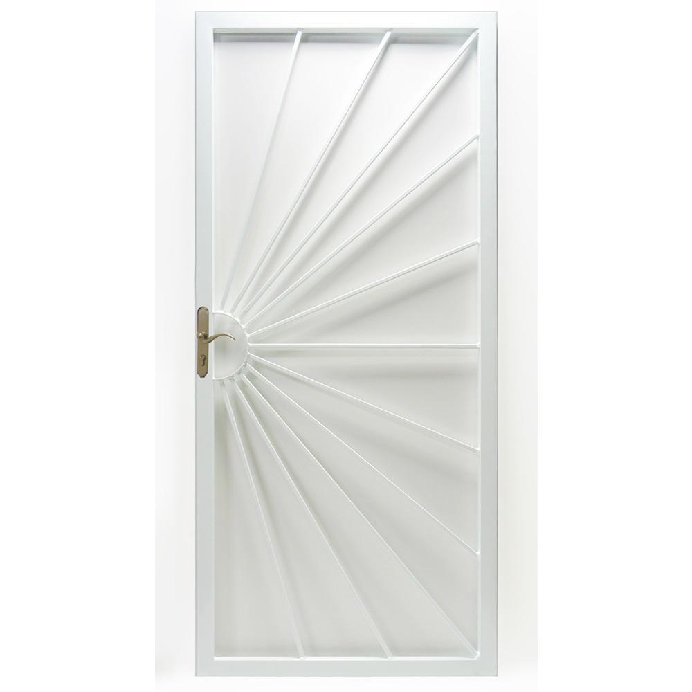 Grisham 32 In X 80 In 369 Series Prehung Universal Hinge Outswing Sunshine Security Door White 36912 The Home Depot In 2020 Security Door Metal Doors Design Wrought Iron Security Doors